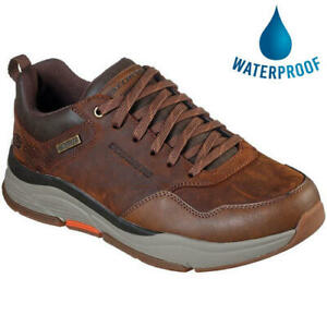 Skechers Benago Hombre Mens Waterproof Leather Lace Up Walking Shoes Size 8-13