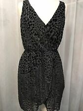 Rory Beca Leopard Print Velvet / Chiffon Faux Wrap Dress Size Med