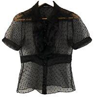 Betsey Johnson Womens Shirt Textured Ruffled Button Front Sheer Black Size 6
