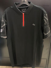Lacoste Sport Ultra Dry Front Zip Polo size 6/xl Black New!