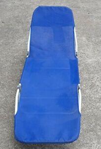 Aluminum Folding Chaise Lounge Lawn Chair Blue Fabric