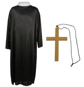 PRIEST COSTUME VICAR RELIGIOUS FANCY DRESS ROBE COLLAR STAG DO HALLOWEEN M L XL