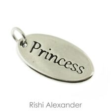 925 Sterling Silver Oval Princess Tag Charm Made in USA