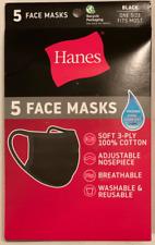 Hanes MASKN2 Wicking Cotton Masks - Black (10 Pack)