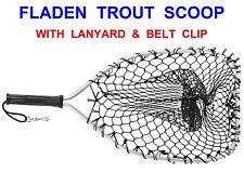 FLADEN TROUT SCOOP LANDING NET+LANYARD & BELT CLIP FOR GAME FLY ROD REEL FISHING