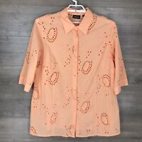 Avenue Women's 22/24 Button Down Tunic Shirt Coral Peach Eyelet Lace 3/4 Sleeve