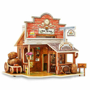 3D Wooden Puzzle Jigsaw Western Style Bar Model Building Kits Home Toy Gift Kids