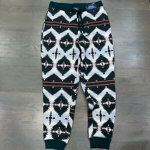 Polo Ralph Lauren Green White Tribal Aztec Jogger Sweatpants Men's Size Medium