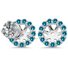 14K White Gold Blue Round Solitaire Earring Diamond Jackets from 0.26CT- 0.44CT