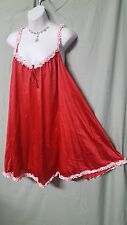 NAUGHTY AND NICE RED/PINK NYLON LINED BABY DOLL NIGHTGOWN WOMEN PLUS SIZE 2X