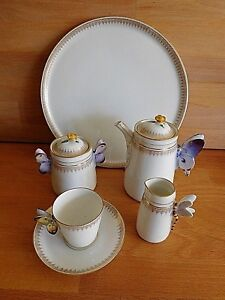 19TH CENTURY D HAVILAND LIMOGES BUTTERFLY HANDLE BACHELORS COFFEE SET ON TRAY