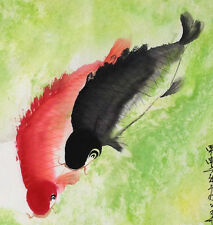 Chinese Sumi Ink Painting Two Koi Fishes Happiness Wealth Wedding/Anniversary