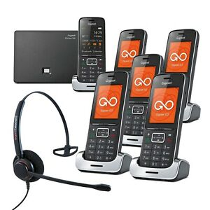 Gigaset SL450A GO 6 Handset VoIP Cordless Phones with Corded Headset DECT Home P