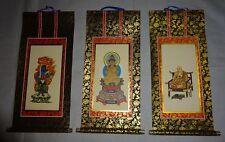 Rare Japanese Buddhist Altar Shrine Hanging Scroll Shingon-shū Temple Zen 3 Set