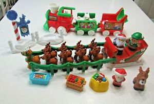 Fisher Price Reindeer Lot MUSICAL TRAIN & TWAS THE NIGHT BEFORE CHRISTMAS Works