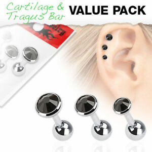 3 Pack of Cartilage Tragus Bars with Assorted Size Black Gems Surgical Steel