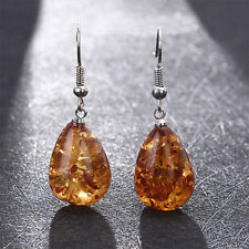 Natural Polished Baltic Sterling Amber Vintage Earrings Women Jewelry Love Gifts