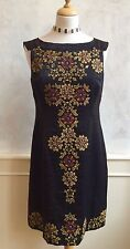 NEW- MONSOON Black Gold Embellished Geometric Formal Party Tunic Dress Medium 12