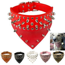 Bandana-Style Spiked Dog Collars Leather Collar for Small Large Dogs Pitbull