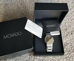 New MOVADO Sapphire Silver Mirror Dial Men's Watch 0607178