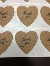 """100 Heart Shaped Natural Craft Thank You Stickers1 3/8""""Labels Wedding ScrapBook"""