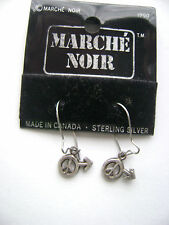Sterling Silver Male Sign Peace Sign Hook Earrings New Old Stock