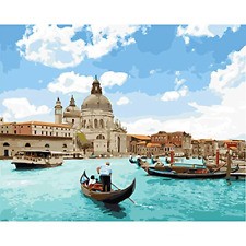 Painting by Numbers Kit for Adults Kids by TOCARE, Venice River, 16x20inch