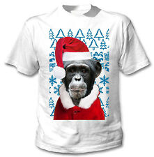 Monkey Christmas Santa - COTTON WHITE TSHIRT