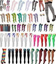 Ladies Girls OTK Stripe Socks With Bow Stripe Over The Knee High Fancy Socks UK