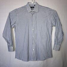Mens Hugo Boss Regular Fit Blue Striped Button Front Dress Shirt Mens 16 34/35