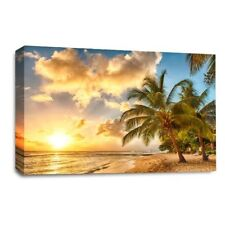 Large Sunset Tropical Island Palm Beach Canvas Wall Art Picture Print SET 1