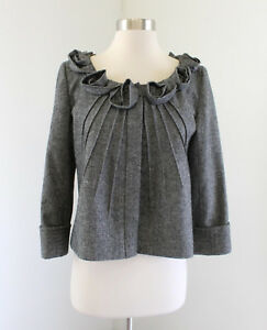 Saks Fifth Avenue Gray Ruffle Rosette Wool Blend Blazer Jacket Size 4 Collarless