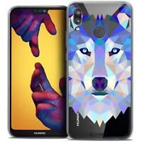 "Coque Housse Etui Pour Huawei P20 LITE (5.84"") Polygon Animal Souple Fin Loup"
