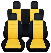 cool VW BEETLE CAR SEAT COVERS(FR+RR+4HR) BLK-YELLOW , More color Available