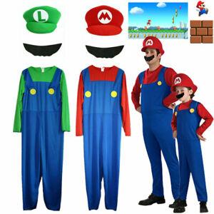 Mens Adult Super Mario and Luigi Bros Plumber Fancy Dress Halloween Costume Boys