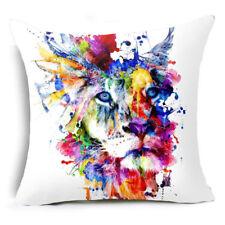 Cushion Cover Sofa Pillow Case LION Watercolor 45cm x 45cm Linen Cotton NEW