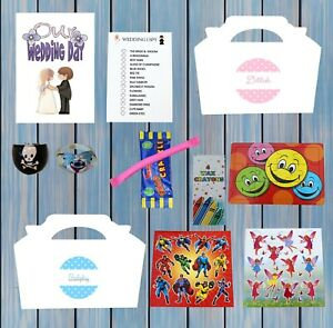 Personalised Childrens Kids Wedding Activity Pack Party Bag Favour Box