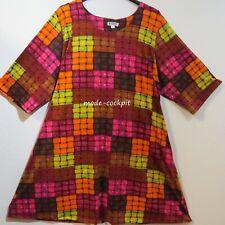 LA BASS tolle Oversize Tunika Stretch Kleid + Taschen rot-bunt 48-50-52 (1)