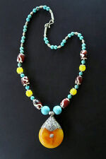 Faux Amber Tibetan-Style Ethnic Jewelry Necklace