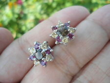Natural SMOKY QUARTZ, RHODOLITE GARNET & CITRINE  Sterling 925 Silver EARRINGS