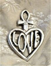 VERY LARGE SILVER-TONE PENDANT INCL HEART W/ LOVE INSIDE & ANKH ATOP FROM FRANCE
