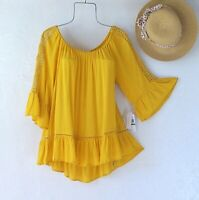 New~Sunflower Yellow Crochet Lace Peasant Blouse Ruffle Boho Top~Size Small S