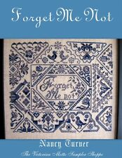 QUAKER  sampler counted cross stitch chart, Forget Me Not