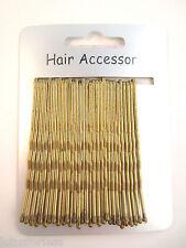 Card of 30 gold tone / blonde hair slides kirby grips bun bobby pins 6 cms