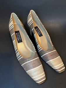 NEW Stuart Weitzman Tan Brown Fabric Stripe Heels Pumps Sz. 9 AA