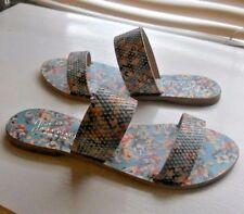 New Joie a La Plage ~ Art to Wear ~ Sable Blue Floral 2 Strap Flat Sandal ~ 37.5