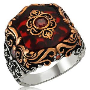 Solid 925 Sterling Silver Custom Cut Red Zircon Stone Men's Ring