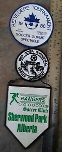 Amateur Soccer Tournaments Alberta Canada 1980's 3 Different Cloth Patchs