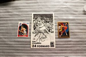 2 TOM CHAMBERS signed basketball cards Plus a 5 X 7 signed B & W photo