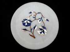 "Marble Inlay Serving Dish 6"" (15.3cm) Plate Gemstone Mother Pearl Lapis Inlaid"